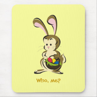 Slightly bemused Easter Bunny and basket of eggs Mouse Pad