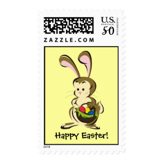 Slightly bemused Easter Bunny and basket of eggs Postage