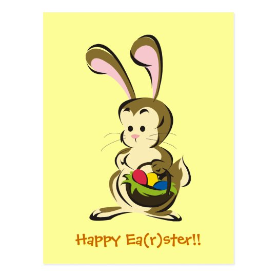 Slightly bemused Easter Bunny and basket of eggs Postcard