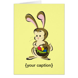 Slightly bemused Easter Bunny and basket of eggs Stationery Note Card