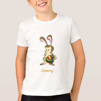 Slightly bemused Easter Bunny and basket of eggs T-Shirt