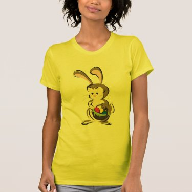 Slightly bemused Easter Bunny and basket of eggs Tees