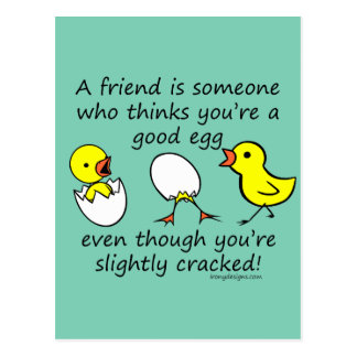 Slightly Cracked Funny Best Friend Quote Postcard