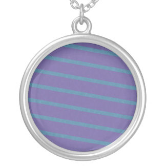 Slightly Diagonal Stripes in Purple and Blue Silver Plated Necklace
