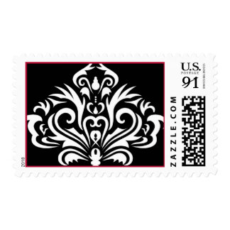 slightly larger damask image in black and white postage