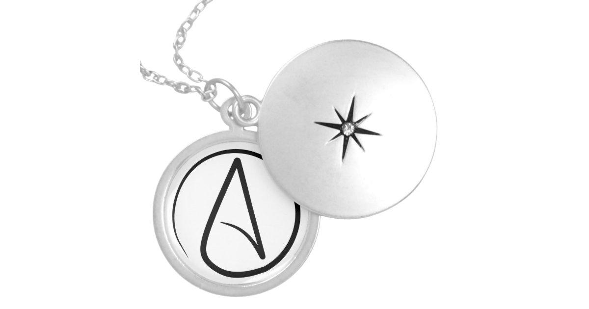 Slim Atheist Symbol Locket Zazzle