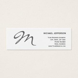 Slim Chic Unique Monogram White Business Card