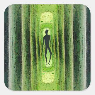 Slim Green Walker Square Sticker