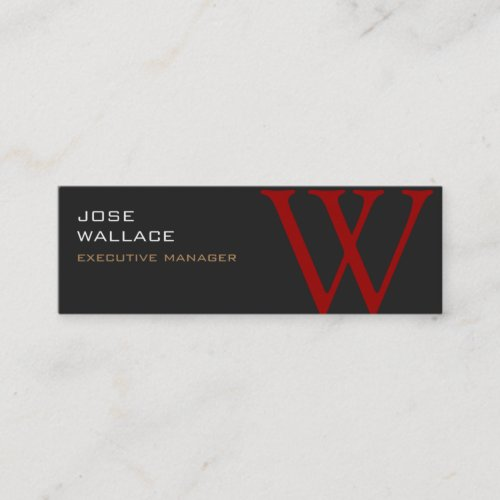 Slim Grey Red Monogram Trendy Modern Plain Mini Business Card