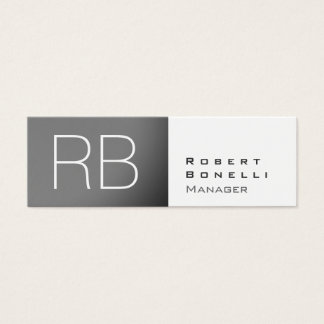 Slim Grey White Monogram Manager Business Card
