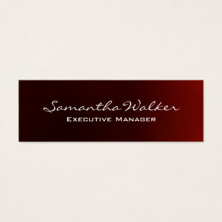 Slim Handwriting Modern Trendy Reddish Brown Mini Business Card