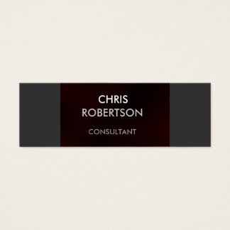 Slim Plain Gray Dark Red Attractive Business Card