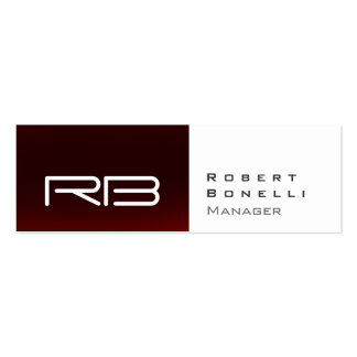 Slim Red White Monogram Manager Business Card