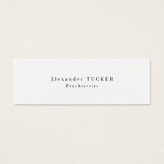 Slim Skinny Modern Plain Simple Psychiatrist Mini Business Card