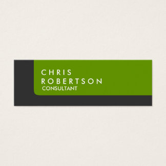 Slim Stylish Grey Green Striped Business Card