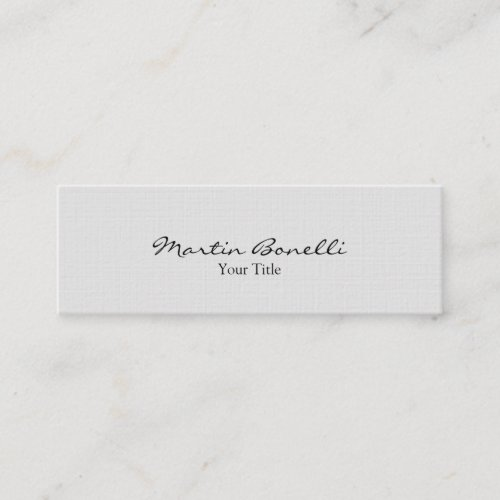 Slim Stylish Linen Grey Trendy Business Card