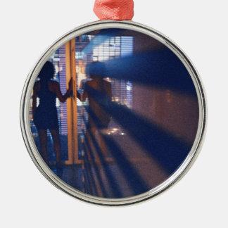 Slim Young lady in corridor hotel analog film phot Metal Ornament