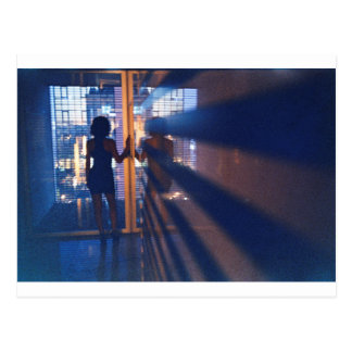 Slim Young lady in corridor hotel analog film phot Postcard