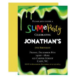 Slime Fun children Birthday party Invitation