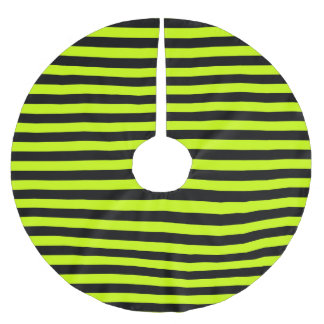 Slime Green and Black Horizontal Witch Stripes Brushed Polyester Tree Skirt