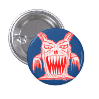 Slime monster badge - red on blue 1 inch round button