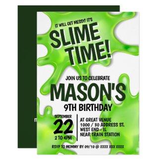 Slime Party Birthday Invitation