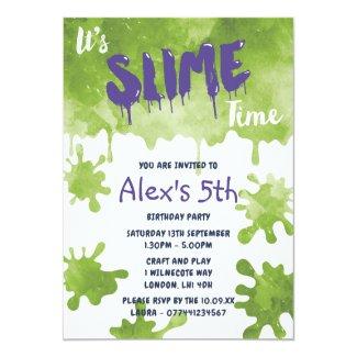 Slime Party Birthday Invitations