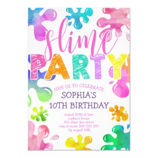 Slime Party Girl Birthday Rainbow Colorful Invitation