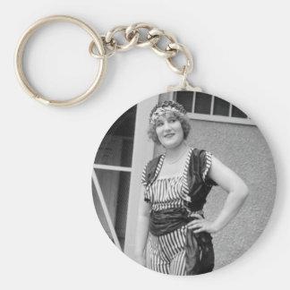 Slimming Stripes, 1920s Basic Round Button Keychain