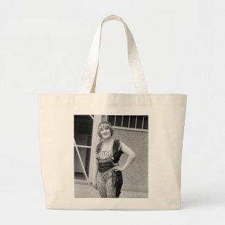 Slimming Stripes, 1920s Large Tote Bag