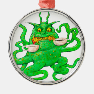 Slimy Green Coffee Monster Metal Ornament