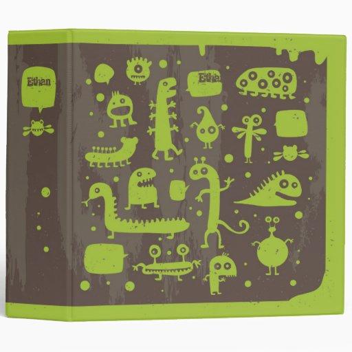 Slimy Green Creatures Kids Binder