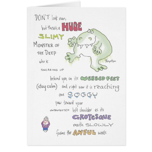 SLIMY MONSTER birthday Boynton Greeting Card