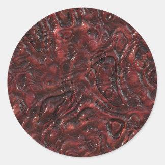 Slimy Red Organic Weird Alien Flesh Texture Classic Round Sticker