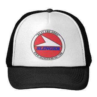 """SLINGER 4"""" Round BTO Logo Red, White, Black, Blue Trucker Hat"""