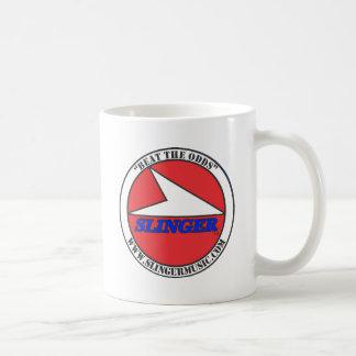 """SLINGER 4"""" Round BTO Logo Red, White, Black, Blue Mug"""