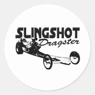 slingshot dragster vintage drag racing classic round sticker