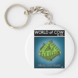 Slinky Cow World Basic Round Button Keychain