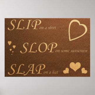 Slip Slop Slap Dark Poster-Replace Live Laugh Love Poster