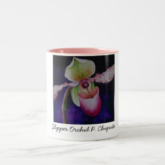Slipper Orchid P. Chiquita Watercolor Art Two-Tone Coffee Mug