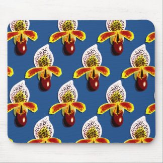 Slipper orchid pattern mouse pad