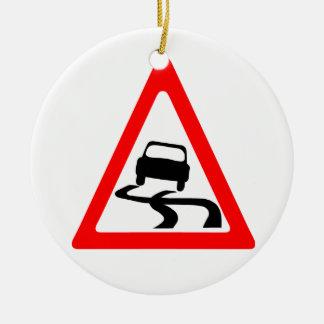Slippery Road Warning Symbol Ceramic Ornament
