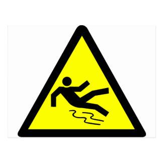 Slippery Surface Warning Postcard