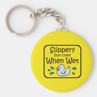 Slippery When Wet Baby Keychain
