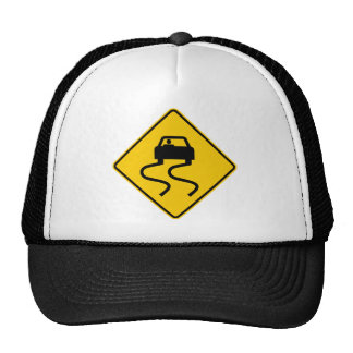 Slippery When Wet Highway Sign Trucker Hats