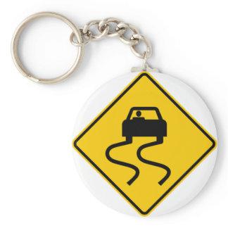 Slippery When Wet Highway Sign Keychain