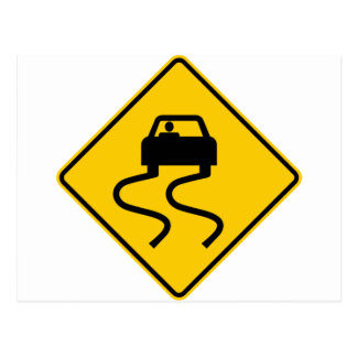 Slippery When Wet Highway Sign Postcard