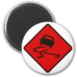 Slippery When Wet Road Traffic sign Australia Car 2 Inch Round Magnet