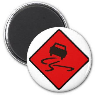 Slippery When Wet Road Traffic sign Australia Car 2 Inch Round Magnet
