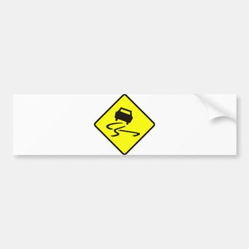 Slippery When Wet Road Traffic sign Australia Car Bumper Stickers